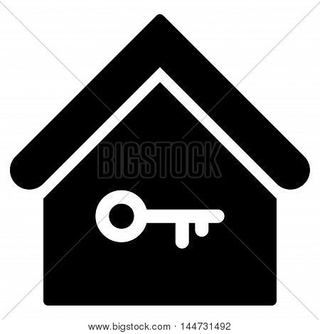 Home Key icon. Glyph style is flat iconic symbol, black color, white background.