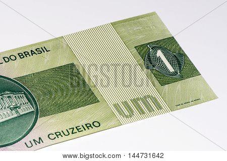 1 Brasilian cruzeiro bank note. Cruzeiro is the former currency of Brasil