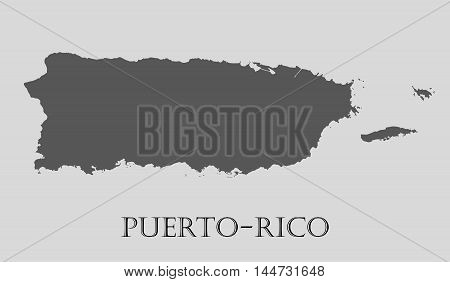 Gray Puerto-Rico map on light grey background. Gray Puerto-Rico map - vector illustration.