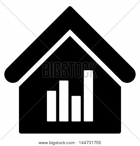 Realty Bar Chart icon. Glyph style is flat iconic symbol, black color, white background.