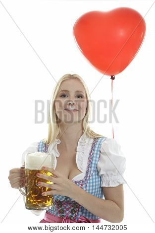 Woman in Dirndl with Balloon and Oktoberfest Beer Mug