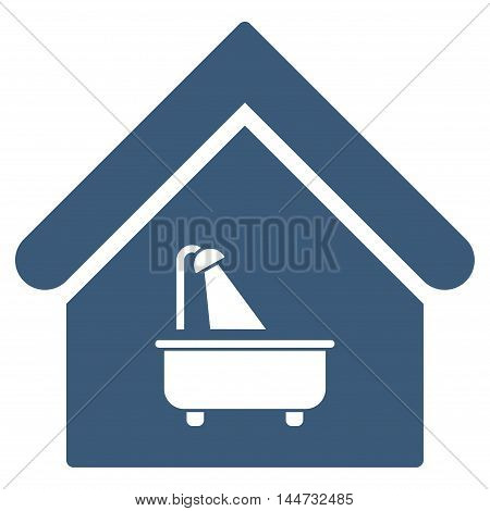 Bathroom icon. Glyph style is flat iconic symbol, blue color, white background.