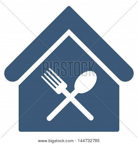 Food Court icon. Glyph style is flat iconic symbol, blue color, white background.