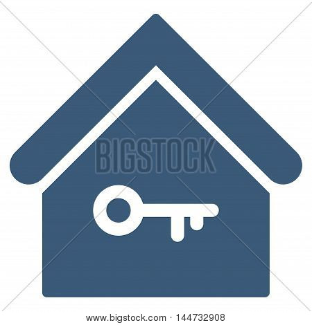 Home Key icon. Glyph style is flat iconic symbol, blue color, white background.