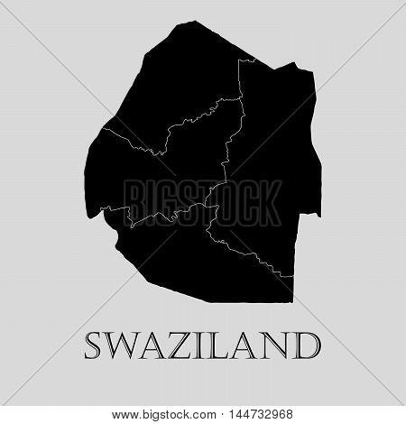 Black Swaziland map on light grey background. Black Swaziland map - vector illustration.