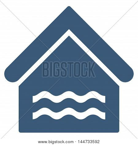 Water Pool icon. Glyph style is flat iconic symbol, blue color, white background.