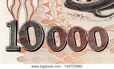 10000 Brasilian cruzeiro bank note. Cruzeiro is the former currency of Brasil