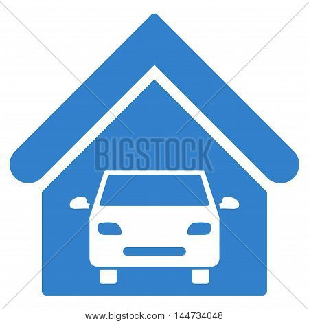 Car Garage icon. Glyph style is flat iconic symbol, cobalt color, white background.