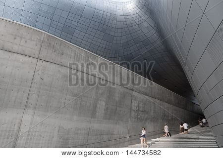 Seoul, South Korea - August 14, 2016: Stairs At Dongdaemun Design Plaza Located In Seoul, Designed B