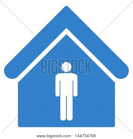 Man Toilet Building icon. Glyph style is flat iconic symbol, cobalt color, white background.