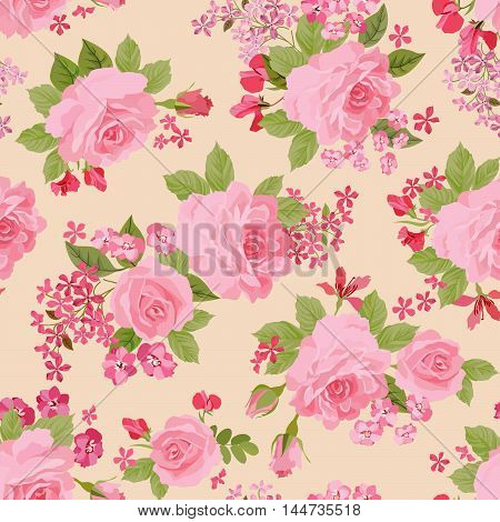 Floral pattern. Flower rose posy watercolor plant seamless pattern in retro style. Flourish ornamental background