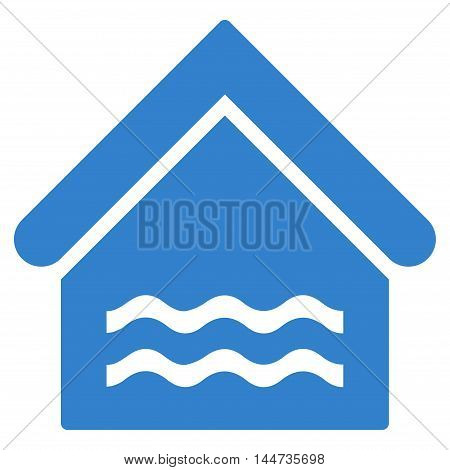 Water Pool icon. Glyph style is flat iconic symbol, cobalt color, white background.