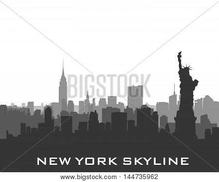 New York USA skyline background. City silhouette with Liberty monument. American landmarks. Urban architectural landscape. Cityscape with famous buildings