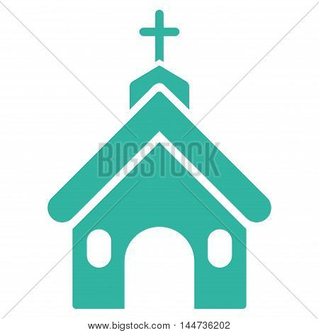 Church icon. Glyph style is flat iconic symbol, cyan color, white background.