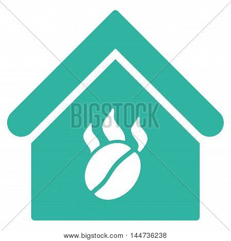 Coffee Shop icon. Glyph style is flat iconic symbol, cyan color, white background.