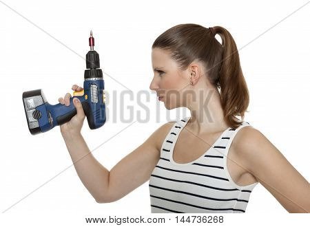 Young craftswoman in front of white background