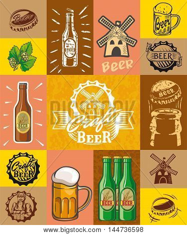 beer, brewing, ingredients, consumer culture. set of simple illustrations on a color background