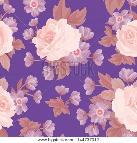 Floral Seamless Pattern. Flower Background. Floral Seamless Texture With Flowers. Flourish Tiled Wal