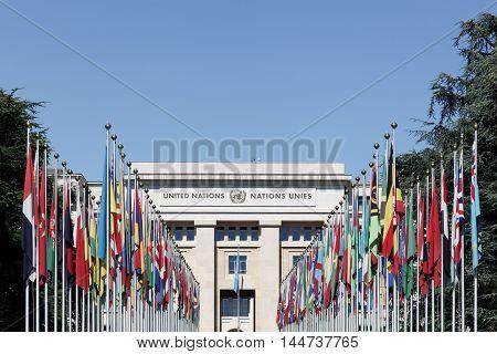 Geneva, Switzerland - August 14, 2016: Palace of United Nations in Geneva, Switzerland. It has served as the home of the United Nations Office at Geneva since 1946