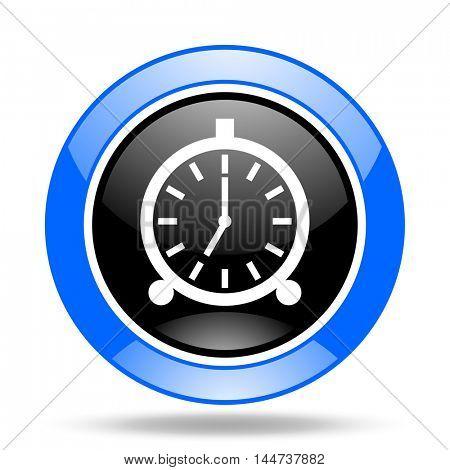 alarm round glossy blue and black web icon