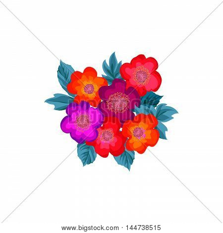 Floral posy. Flower bouquet isolated. Summer nature flourish design element
