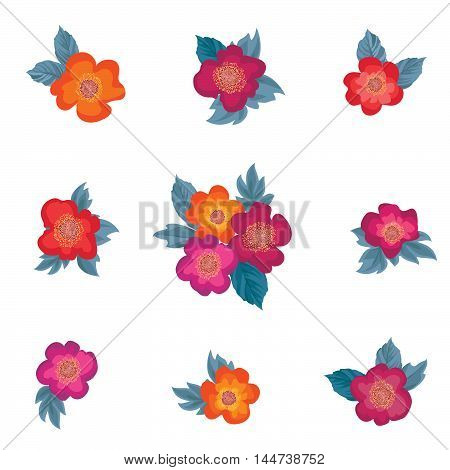 Flower set. Floal bouquet collection over white background. Flowers with leaves design elements for flourish greeting card