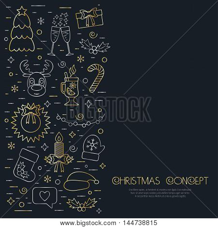 Christmas isolated concept flyer card with traditional attributes in line style. Flat design from golden and silver linear icons. Vector illustration