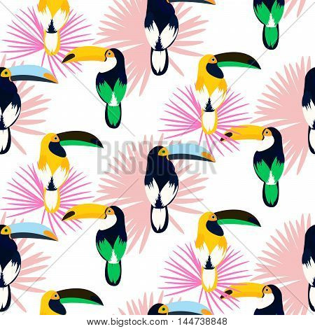 Tropic light pink plant leaves and toucan bird seamless pattern. Exotic nature pattern for fabric, wallpaper or apparel.