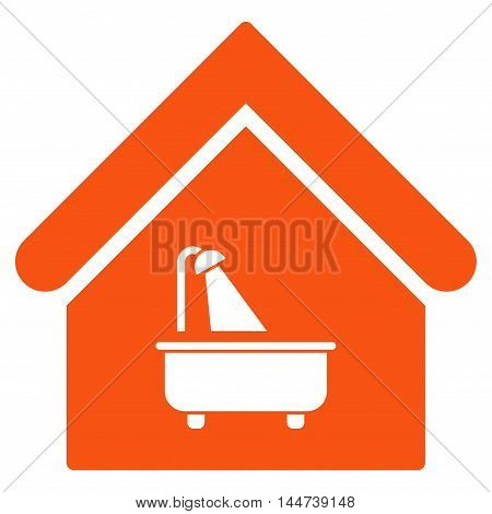 Bathroom icon. Glyph style is flat iconic symbol, orange color, white background.