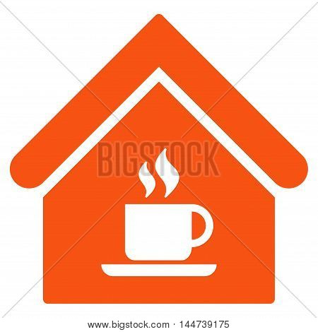 Cafe House icon. Glyph style is flat iconic symbol, orange color, white background.