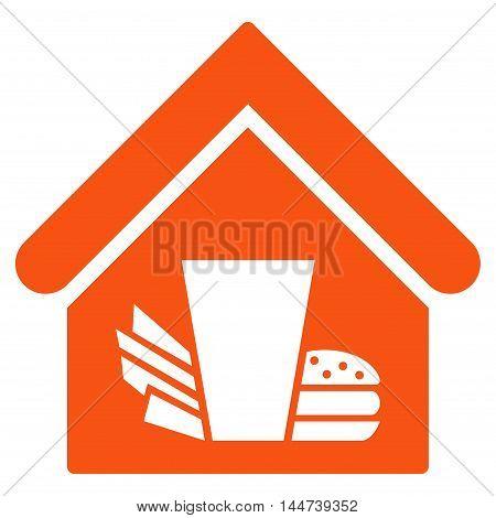 Fastfood Cafe icon. Glyph style is flat iconic symbol, orange color, white background.
