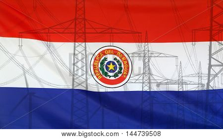 Concept Energy Distribution Flag of Paraguay merged with high voltage power poles