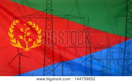 Concept Energy Distribution Flag of Eritrea merged with high voltage power poles