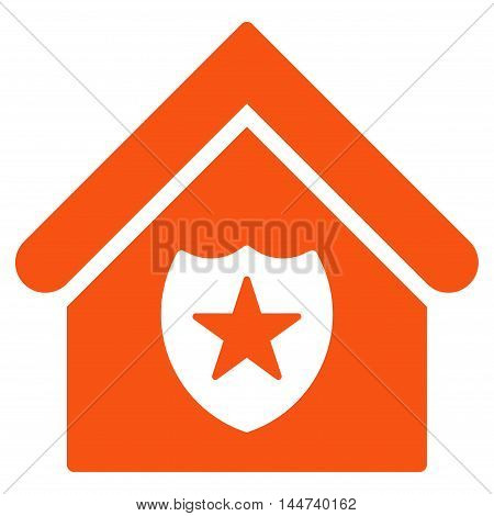 Realty Protection icon. Glyph style is flat iconic symbol, orange color, white background.