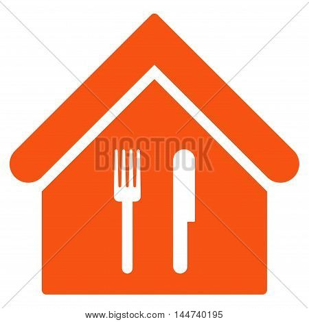 Restaurant icon. Glyph style is flat iconic symbol, orange color, white background.