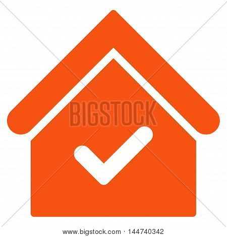 Valid House icon. Glyph style is flat iconic symbol, orange color, white background.