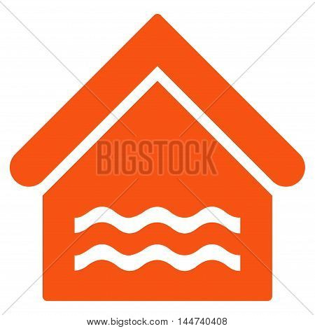 Water Pool icon. Glyph style is flat iconic symbol, orange color, white background.
