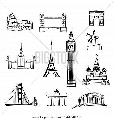 world tourist attractions symbols World famous city landmarks Travel icon set Doodle engraved sightseeings of London Rome Berlin Athens Moscow San Francisco Paris.