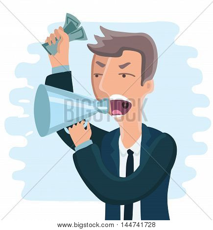Vector cartoon illustration of angry boss. Man shouting in megaphon with money in his hand