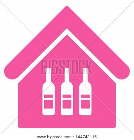 Wine Bar icon. Glyph style is flat iconic symbol, pink color, white background.