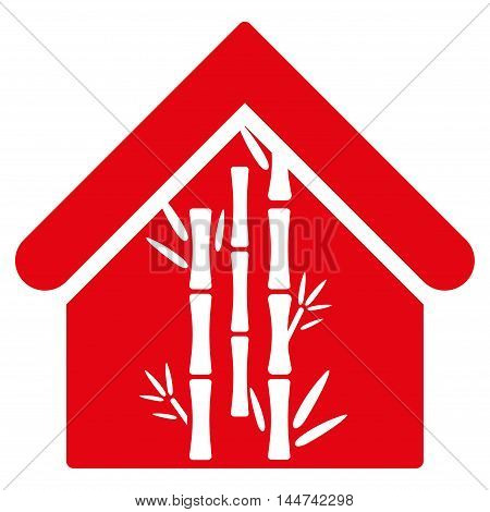 Bamboo House icon. Glyph style is flat iconic symbol, red color, white background.