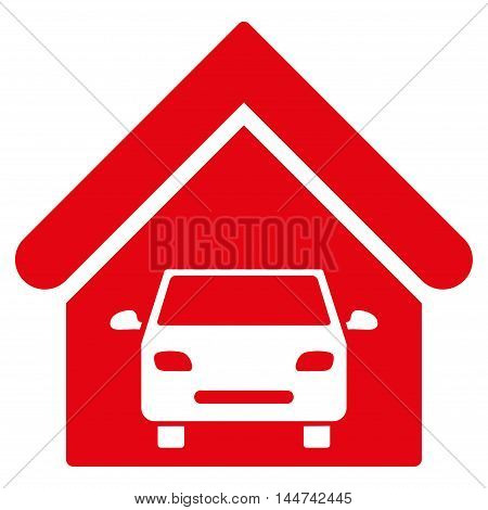 Car Garage icon. Glyph style is flat iconic symbol, red color, white background.