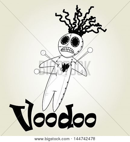 Cute black and white Voodoo doll icon over white background. Vector