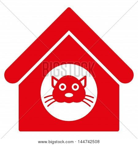 Cat House icon. Glyph style is flat iconic symbol, red color, white background.