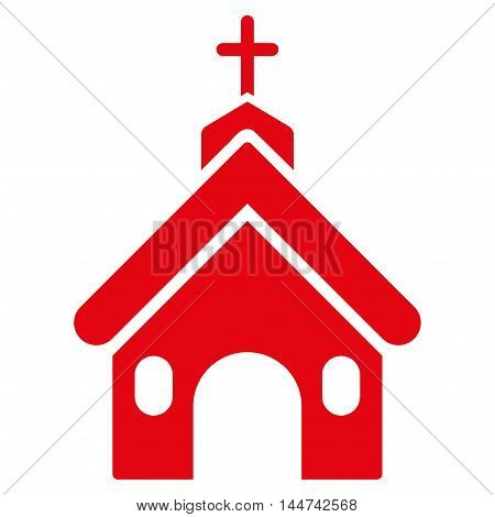Church icon. Glyph style is flat iconic symbol, red color, white background.
