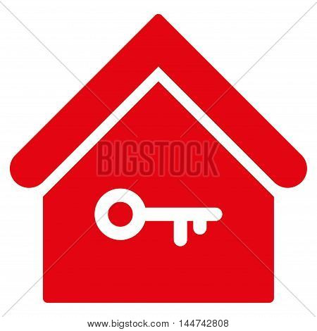 Home Key icon. Glyph style is flat iconic symbol, red color, white background.