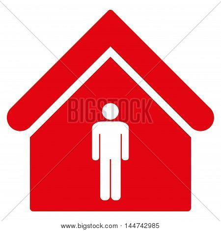 Man Toilet Building icon. Glyph style is flat iconic symbol, red color, white background.