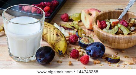 Muesli With Sweet Berries, Fruits And Milk