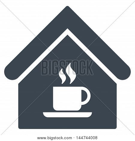 Cafe House icon. Glyph style is flat iconic symbol, smooth blue color, white background.