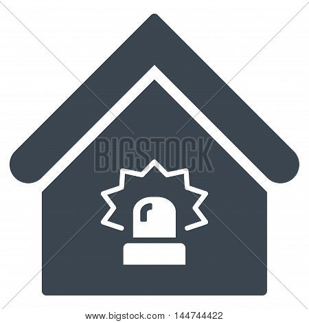 Realty Alarm icon. Glyph style is flat iconic symbol, smooth blue color, white background.